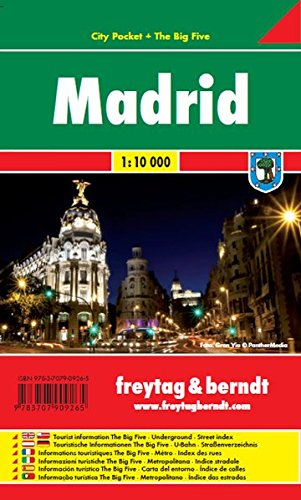 Madrid, plano callejero plastificado de bolsillo. Escala 1:10.000. Freytag & Berndt.