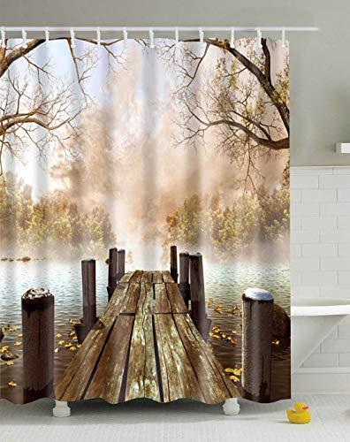 Braun Multi-funktions-stoff (CapiSco Duschvorhang, wasserabweisend, aus Stoff, Ozean-Dekoration, Herbst-Holzbrücke, Jahreszeiten, Seehaus, Naturland, 150 x 183 cm, Khaki Gelb und Braun 72