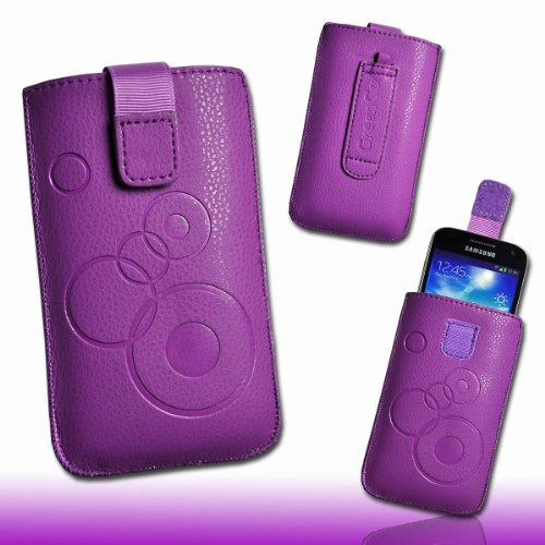 Handy Tasche Kunstleder lila/violett mit Zugband circle für Sony Xperia T / Sony Xperia V / Huawei Ascend G600 / ZTE Grand X IN / ZTE Grand X / LG Optimus 3D P720 / LG Optimus L7 P700 / LG PRADA phone by LG 3.0 / HTC Windows Phone 8X