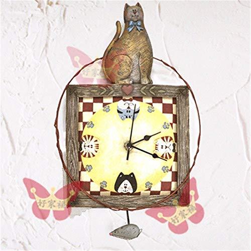 BAIJJ Katzen und Mäuse, die Glocken hängen Alte Harzuhren im europäischen Stil Uhrenkunst-Wackelglockenuhr