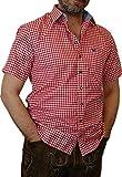 Trachtenhemd Mike kurzarm kariert mit Kontrasten im Kragen und Stick auf der Brusttasche, Größen:S;Farbe:rot - weiss