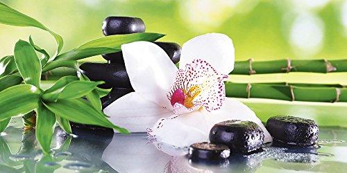 Artland Qualitätsbilder I Glasbilder Deko Glas Bilder 60 x 30 cm Wellness Zen Pflanze Foto Grün F1YQ Spa Steine Bambus Zweige Orchidee Tisch -
