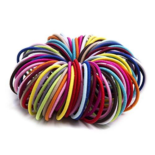 munax 100Stück Ouchless Pferdeschwanz Inhaber Müheloses Beauty festen elastisch ohne Schäden Haar Krawatten, 3mm (Pferdeschwanz Inhaber Schäden)