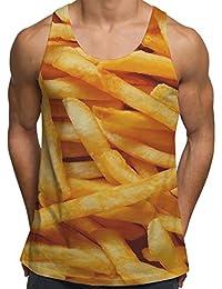 Vests d'entraînement de gym pour Hommes Débardeur imprimé Frites Fast Food Vêtements de vacances