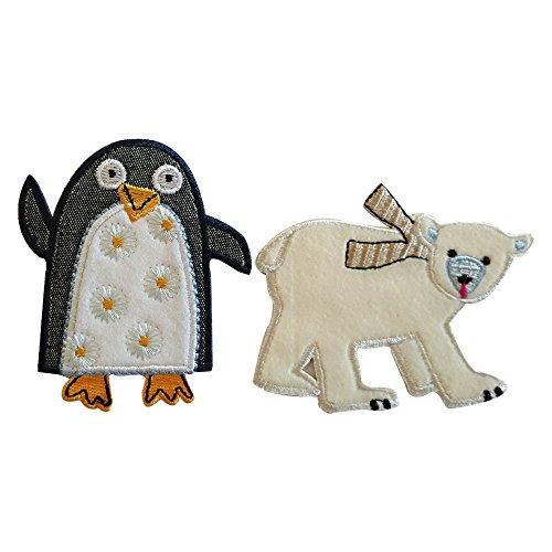polar-9x7cm-penguin-7x8cm-orso-polare-su-tessuto-bianco-con-cucitura-di-contorno-e-sciarpa-ricamata-