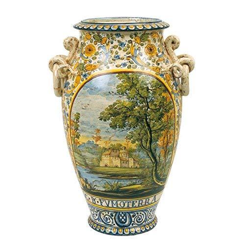Vaso portaombrelli dipinto a mano in ceramica artistica di castelli italia h cm 55 serie aulica