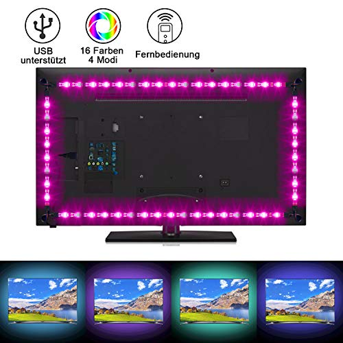 Sunnest LED Strip 2M TV LED Hintergrundbeleuchtung USB led strips (4X50cm) RGB LED Streifen Lichtband Fernseher Beleuchtung mit 24-Key Fernbedienung LED Backlight für HDTV, PC-Monitor, Spiegel usw.