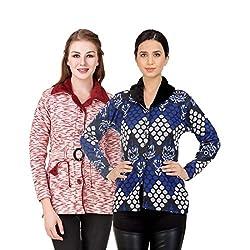 Kritika World Womens Wool Cardigan Dress (COAT_VELVET_MAROON_COAT2_BLUE_Maroon Blue_Large)