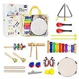 Yetech Instrumentos Musicales para Niños 13 en 1, Xilófono Madera Set de Instrumentos Musicales, Aprendizaje del Ritmo Corporal, Set de Panderetas y Percusión para Infantil