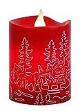 Star LED-Leuchtkerze mit Echtwachs, flackernd, Timer, Santa im Schlitten batterie betrieben Sichtkarton, 10 x 8 cm, rot 066-96