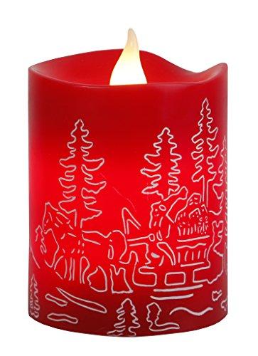 Candela led con cera reale, sfarfallio rosso con motif, timer, circa 10 x 8 cm, batteria