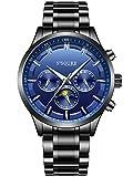 Alienwork mechanische Automatik Armbanduhr Multi-funktion Automatikuhr Uhr Herren Uhren elegant modisch Metall blau schwarz S004GA1-G-04