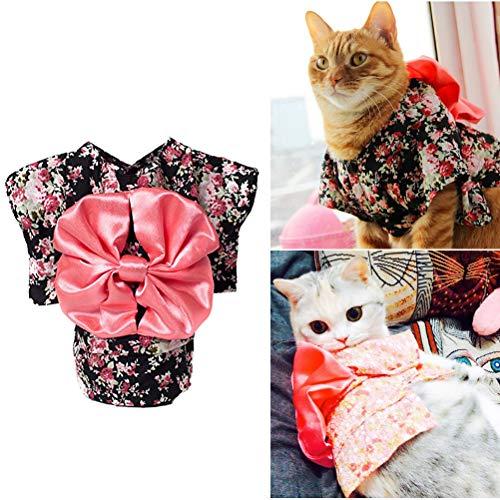 POPETPOP Hund Kimono Kostüm-Hund Kostüm Halloween Katze Kleidung Cosplay Japan Kimono Haustier Kleidung für Doggy Kitty Kaninchen Pig Fun Schwarz - Rosa Und Schwarzer Kitty Kostüm