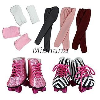 Miunana 2 Paires de Patins à Roulettes + 2 Paires de Chaussettes + 1 Legging Aléatoire Pour La Poupée American Girl