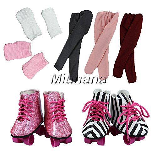 Miunana 2 Schuhe Schlittschuhe &2 Socke &1 Leggings für 46-50 cm Puppe 18 Inch Doll Puppen American Girl Stehpuppen (American Puppe Zubehör)