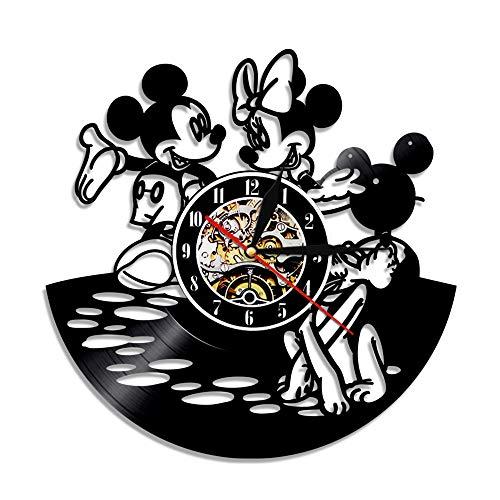 YALESU Two Mickey Mouse Vinyl Disc Wall Clock, Cute Creative Disney Cartoon Art Wall Decor, 30cm (12 Zoll) (Disney Cartoons Vintage Halloween)