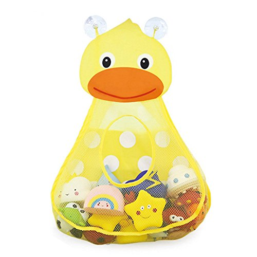 Organizador de juguetes de baño, lindo pato de secado rápido bañera malla con fuertes ventosas, multiusos bolsas de almacenamiento para baño, juguete de bebé