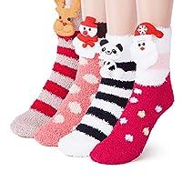 5 Pair Women Girls Fluffy Socks, Fuzzy Cute Christmas Socks Warm Slipper Socks Home Sleeping Socks Cozy Animal Pattern Sock