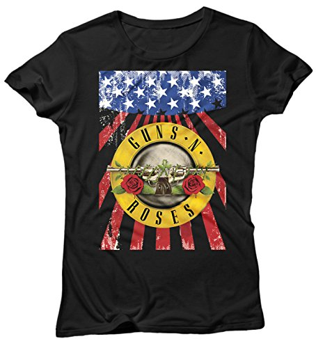 Damen-T-shirt Guns n' Roses - American Texture rock 100% Baumwolle LaMAGLIERIA Schwarz
