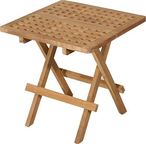 MACABANE 500979 Table Pique Nique carrée Couleur Brut en Teck Dimension 50cm X 50cm X 50cm