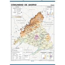 Mapa mural Comunidad de Madrid impreso a doble cara Físico / Político envarillado, con colgadores y tubo 100 x 140 cm