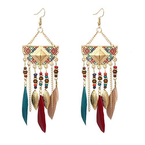 LSAltd Frauen böhmischen fächerförmigen Perlen Quaste Feder Ohrringe -