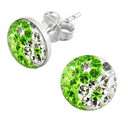 Epoxy Clover Multi Kristall Stein Licht grün und klar Yin Yang 925 Sterling Silber Ohrstecker
