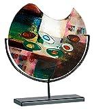 GILDE GLAS art Vase Patchwork - Dekovase und Kunstwerk handgefertigt aus buntem Glas mit schwarzem Metallhalter Höhe 37 cm Breite 32 cm 39384