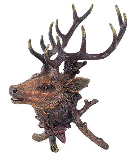 Kunst & Ambiente - Wiener Bronze - Hirsch - Tierfigur - Hirschtrophäe - Waidmannsheil - Jagdfigur - Rothirsch - handbemalter Hirschkopf - Vienna - Bronzefigur - Wien