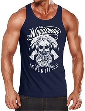Herren Tank Top Lumberjack Woodsman Hipster Bart Skull Totenkopf Muskelshirt Achselshirt Neverless®