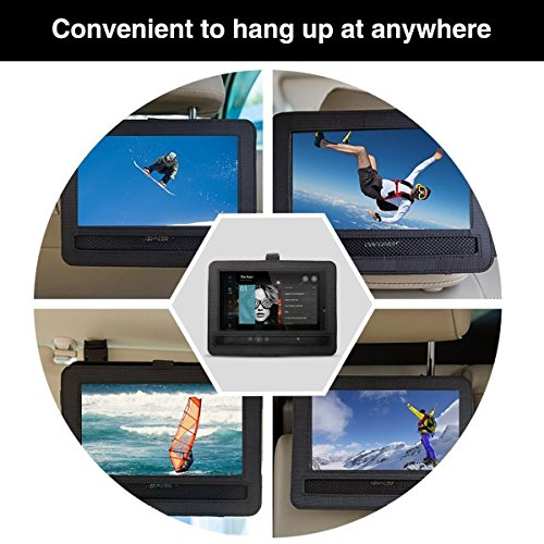Auto KFZ Kopfstützenhalterung Kopfstütze Halterung, RUISIKIOU Auto Kopfstützenhalterung für Drehgelenk & Flip Tragbarer DVD Player KFZ Kopfstütze Halterung Gehäuse (9-9.5 Zoll ) - 6