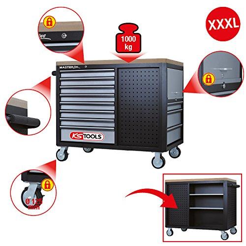 KS Tools Masterline Giant mit 11 Schubladen, 1 Tür und 2 Regalböden, schwarz / silber, 878.0012 - 2