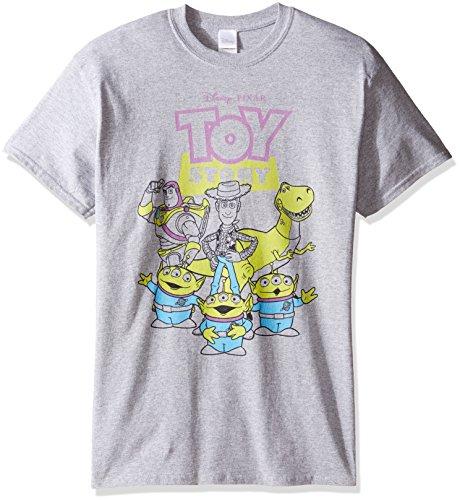 Disney Herren T-Shirt Toy Story, skizzierte Figuren - grau - (Buzz Lightyear Kostüm Für Herren)