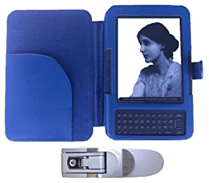 TEEPEE ONLINE® 4 COLOURS LEATHER CASE COVER WALLET for AMAZON KINDLE KEYBOARD MODELS PLUS SUPERBRIGHT LED LIGHT (BLUE)