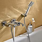 saupoudrer chrome contemporain finition robinet de la baignoire (portable + pr¨¦cipitations)