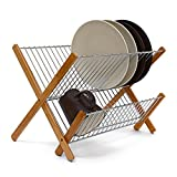 Relaxdays CROSS Bamboo And Stainless Steel chromed Draining Rack: 27 x 38 x 29 cm Drying Rack Folding Dish Drainer For Plates, Cups, Glasses, Natural