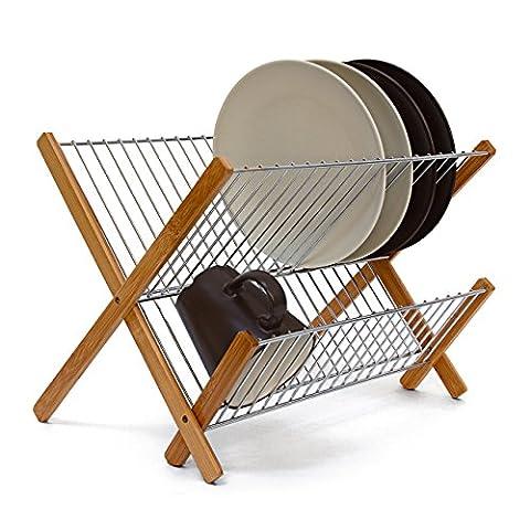 Relaxdays Égouttoir à vaisselle CROSS en Inox/ Bambou Ustensile de cuisine Accessoire Déco 27 x 38 x 29 cm pliable,