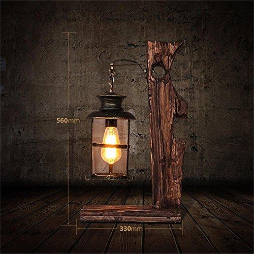 Holz-loft-betten (GBT Amerikanische Persönlichkeit Retro Nostalgie Loft Cafe Wohnzimmer Schlafzimmer Nacht Kreative Dekorative Kunst aus Holz Tischlampe)