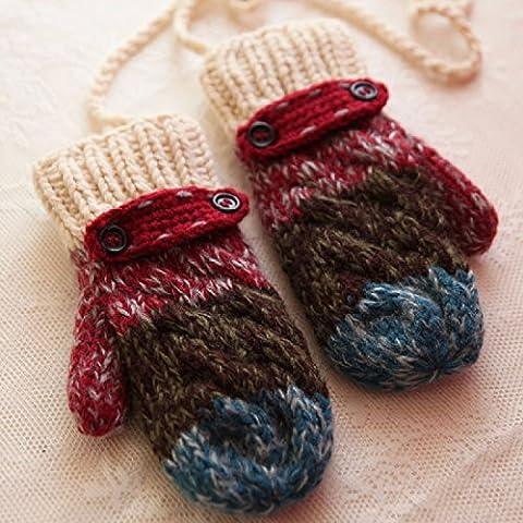 ZHGI Gradiente de felpa jacquard y acolchada para mantener el calor en invierno guantes guantes de lana tejida paquete lanyard señoras,vino rojo