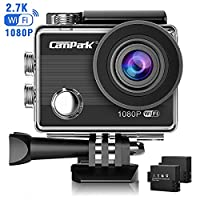 Action Camera,Campark ACT68 Sport Cam Wifi 2.7K/1080P 12MP Full HD Underwater Camera with 170° Wide-Angle 2 Inch LCD Display with 2 Rechargeable Batteries and Mounting Accessories Kit