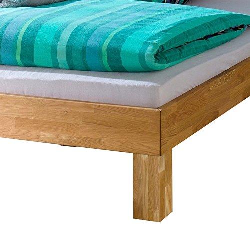 Bett Julia 100×200 cm Futonbett Eiche massiv natur Einzelbett Jugendbett Kinderbett Gästebett