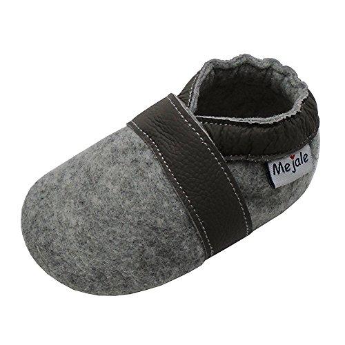 Mejale Krabbelschuhe Lauflernschuhe Hausschuhe Lederpuschen Erste Wanderer Krabbeln Kleinkind Kinderschuhe Pantoffeln Hellgrau (18-24 ()