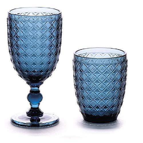 Kedea bicchieri acqua, calici di vino, bicchieri colorati, bicchieri cocktail, bicchieri aperitivo, bicchieri vetro, bicchieri zaffiro/blu' (set 6+6)