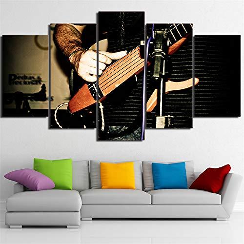 Musikinstrument Gitarre Moderne wandkunst bilderrahmen leinwand malerei 5 stücke von Musikinstrument Violine Spielen Elegante Musik malerei Poster Dekoration 40x60 40x80 40x100 cm