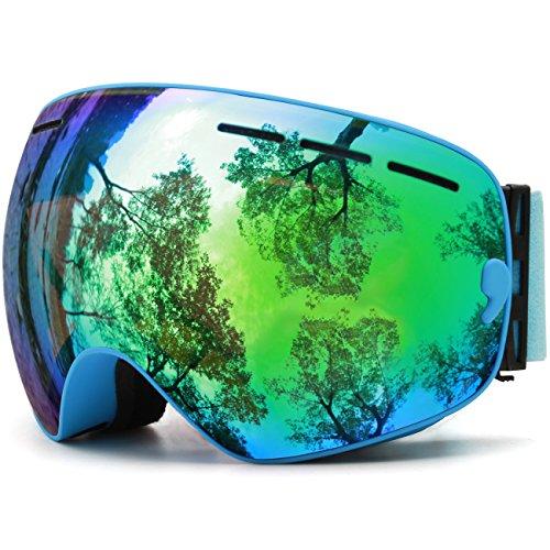 JULI® Skibrille,Winter Schnee Sport Snowboardbrille Mit Anti-nebel UV Schutz Austauschbar Sphärische Doppelte Linse für Männer Frauen & Jugend Schneemobil -