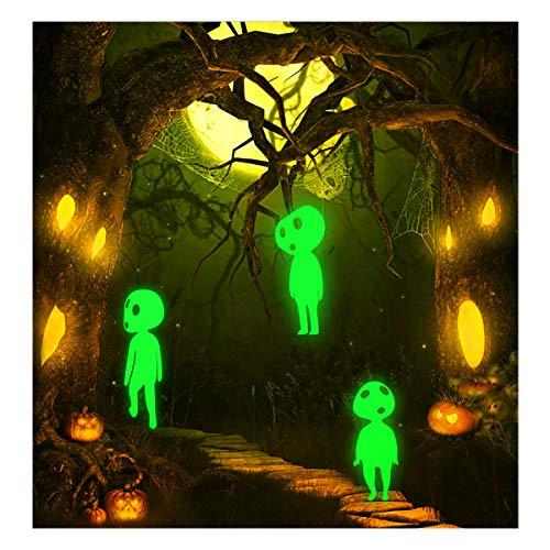 Lamdgbway Halloween Glühen im dunklen Aufkleber Abnehmbare PVC Luminous Wandaufkleber Leuchtstoff Wohnkultur Mauer Aufkleber Wandtattoos (3pcs Elfen)