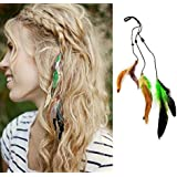 Prime Coloured Hair Extensions For Girls Clip In Feather Hair Extension Streaks, 10 Gram, Multi Colour, 2 Pcs...