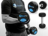 BodyRip, set da palestra con manubrio di sollevamento con pesi fissi 2,5-30 kg, Black Blue