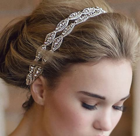 XinHe Headband Tiara Double Strip Diamond Elegant Luxury Handmade Jewelry Beads Bridal Wedding Evening Pageants Accessory Hair Head