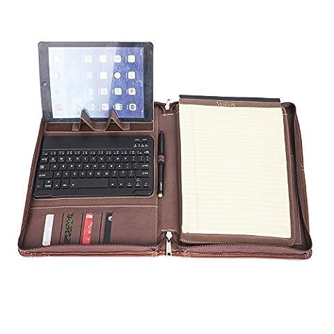 Coface Brown Professional Padfolio Organizer Housse de portefeuille compact en cuir véritable pour iPad Air 2 / iPad Air / iPad Pro 9.7 pouces
